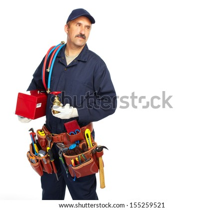 Handyman with a tool belt. Isolated on white background. - stock photo