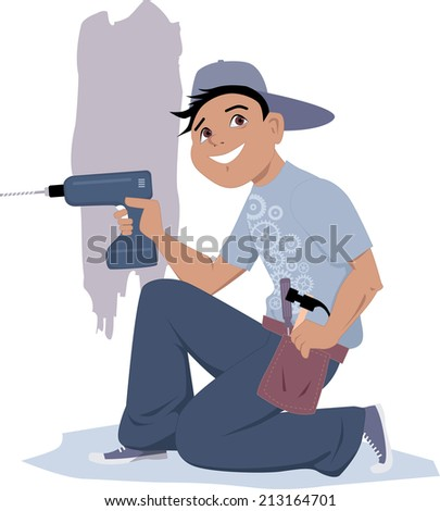 Handyman with an electric drill - stock photo