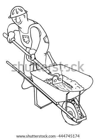 Handyman Worker Cement Mortar Mixer Man Stock Illustration 444745174 ...