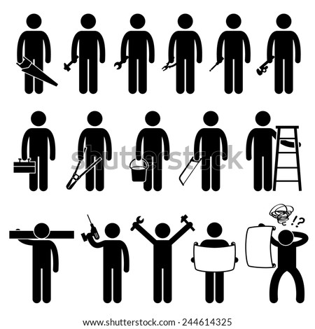 Handyman Worker using DIY work tools Stick Figure Pictogram Icons - stock photo