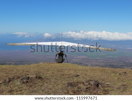 Hang Gliding in Hawaii - stock photo