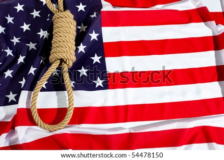 Hang knot on American flag. Death penalty gallows, - stock photo