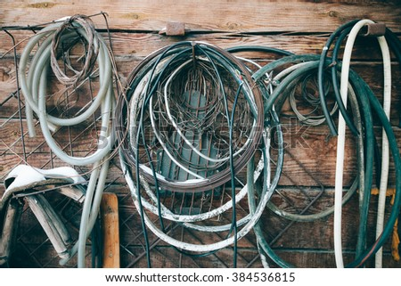 hang on the wall of the building of the cable for different need - stock photo