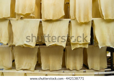 Hang rubber sheet for dry - stock photo