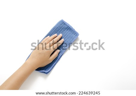 hang with blue rag cleaning on a white background - stock photo