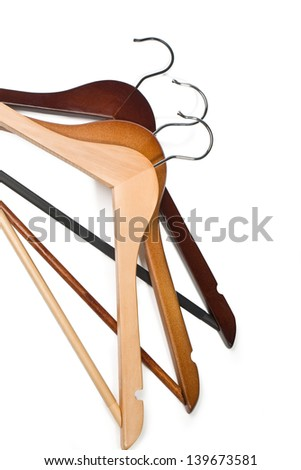 Hangers isolated on the white background.with clipping path - stock photo