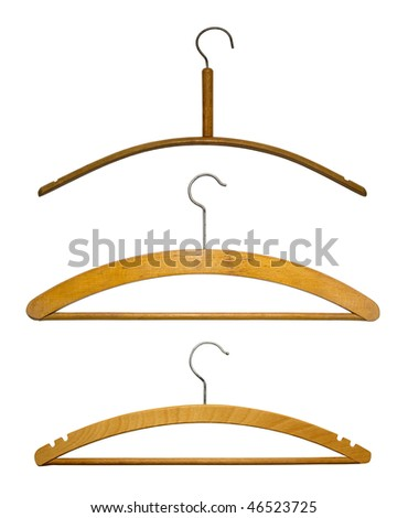 Hangers isolated on white - stock photo