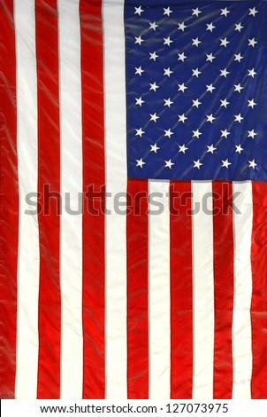 hanging American flag - stock photo