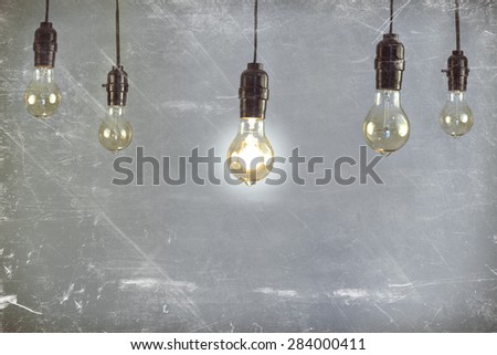 Hanging antique edison style filament light bulb