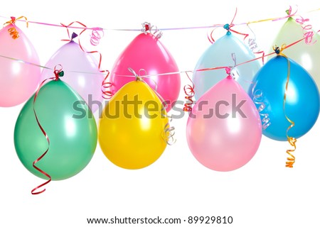 Hanging balloons isolated on white. - stock photo