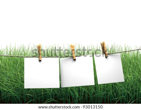Hanging blank paper on clothesline in field - stock photo