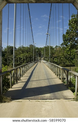 hanging bridge in the rainforest with blue skies