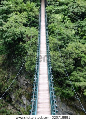 Hanging bridge leading into the thick green jungle. - stock photo
