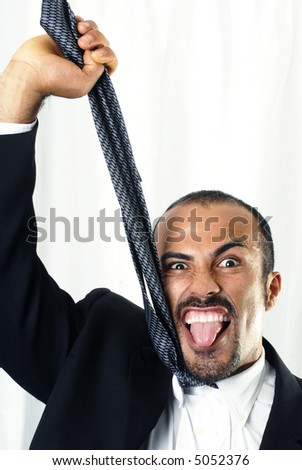 Hanging Businessman - stock photo