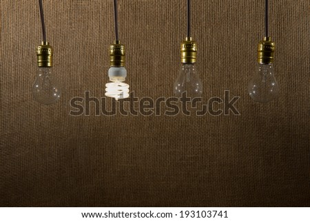 Hanging CFL (compact fluorescent lamp) bulb and three incandescent bulbs that are turned off.  Textured, natural background. - stock photo