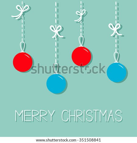 Hanging christmas balls. Blue and red. Dash line with bows. Flat design. Merry Christmas greeting card. Black background