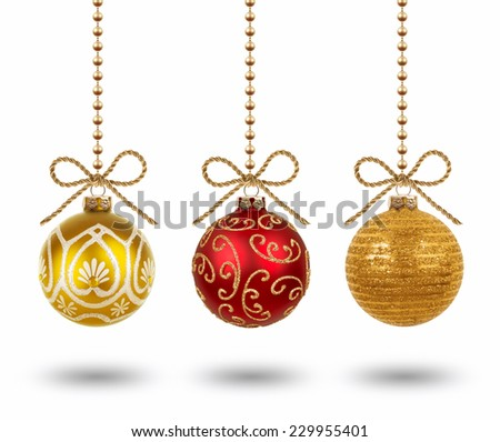 Hanging christmas balls isolated on white background - stock photo