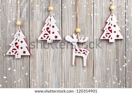 Hanging Christmas decorations - stock photo
