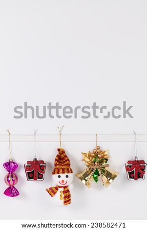 Hanging christmas object isolated on white background - stock photo