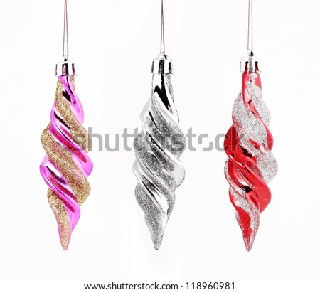 Hanging Christmas ornaments set isolated on white background - stock photo