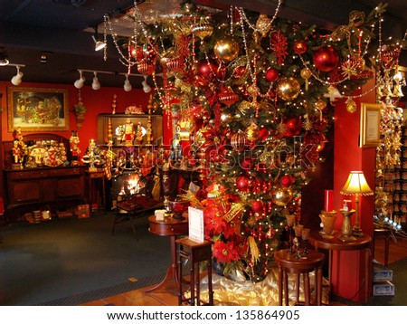 Hanging Christmas Tree Decorated for Holidays in a Store Display