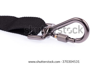 hanging clasp snap latch hook carabiner isolated on white background