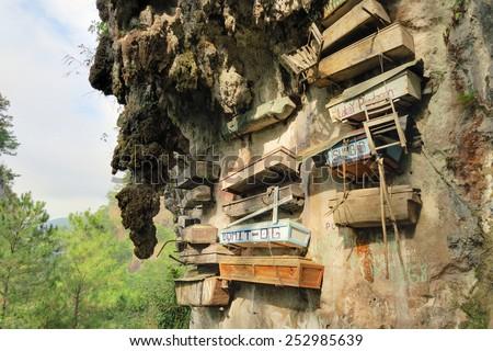 Hanging Coffins of Sagada, Philippines - stock photo