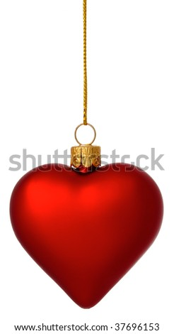 Hanging crimson Christmas Heart bauble on gold thread isolated on white - stock photo