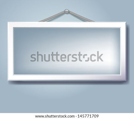 Hanging empty frame for inserting text or photo. Raster version of vector. - stock photo