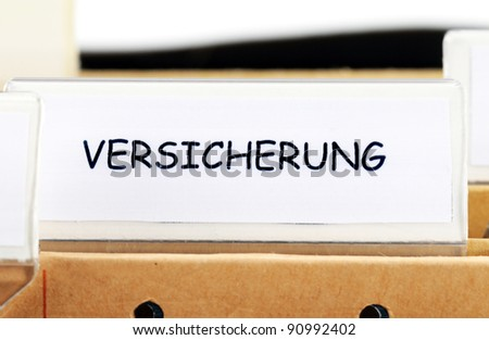 Hanging file folder for insurance informations (Versicherung)