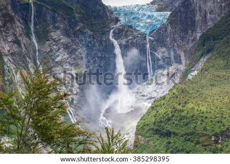 Hanging Glacier of Queulat National Park (Chile) - stock photo
