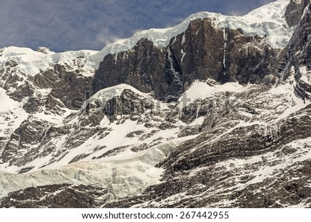 Hanging Glaciers and Rock in the French Valley of Torres del Paine National Park in the Patagonian Andes of Chile - stock photo