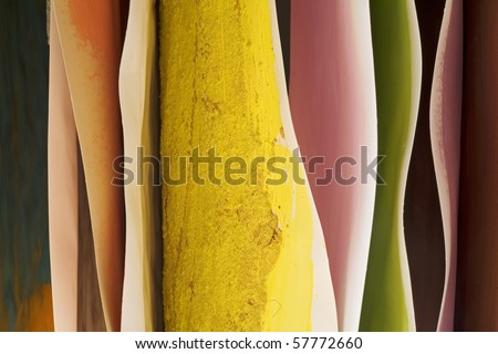 Hanging hand painted paintings, colorful background, grungy structure - stock photo
