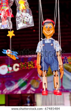 Hanging handmade marionette, Rayong Thailand - stock photo