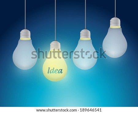 hanging ideas illustration design over a blue background