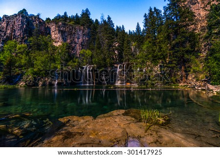 Hanging Lake at Night lid by a moonlight, Glenwood Canyon Colorado