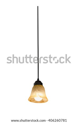 Hanging lamp isolated on white. - stock photo