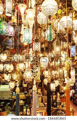 hanging lanterns inside the Grand Bazaar in Istanbul, Turkey - stock photo