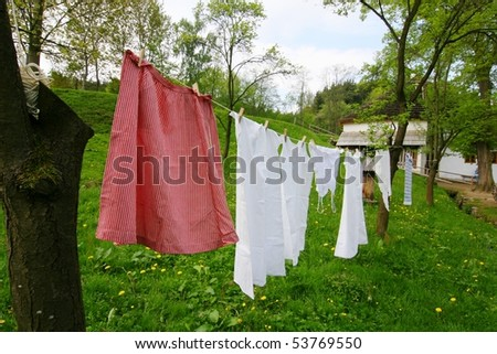 hanging laundry on the line