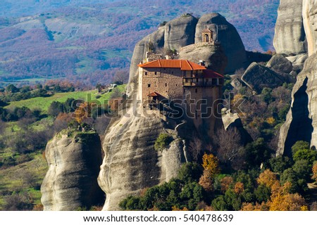 Hanging monastery at Meteora of Kalampaka in Greece. The Meteora area is on UNESCO World Heritage List since 1988