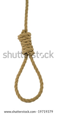 Hanging noose of rope isolated on white. - stock photo