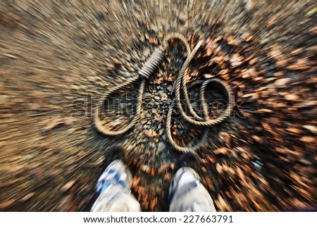Hanging Noose on the floor. 02.11.2014 Czech Republic - stock photo