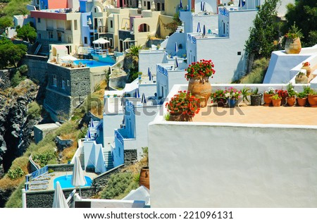 Hanging patios illustrating the lifestyle on the Greek island of Santorini in the Aegean - stock photo