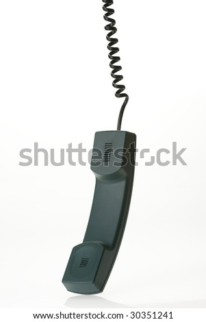 hanging phone receiver on white background