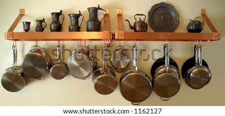 Hanging Pots and Pans - stock photo