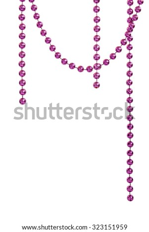 Hanging purple bead garland, isolated on white