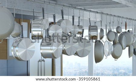 Hanging rack for many pots and pans in a modern kitchen (3D Rendering) - stock photo