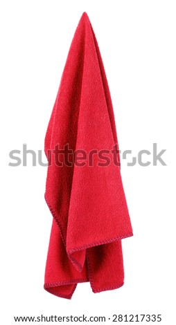Hanging red and clean towel - stock photo
