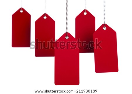 Hanging red tags on the white background