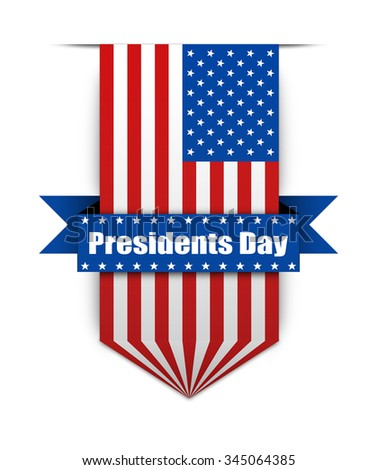 Hanging ribbon on the President day in style american flag. Stylish banner on the american President day. President day flag for websites. - stock photo